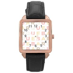 Alphabeth Rainbow Color Rose Gold Leather Watch  by Alisyart