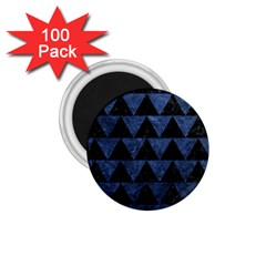 Triangle2 Black Marble & Blue Stone 1 75  Magnet (100 Pack)  by trendistuff
