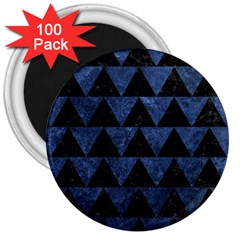 Triangle2 Black Marble & Blue Stone 3  Magnet (100 Pack) by trendistuff