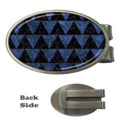 Triangle2 Black Marble & Blue Stone Money Clip (oval) by trendistuff