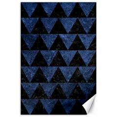 Triangle2 Black Marble & Blue Stone Canvas 24  X 36  by trendistuff