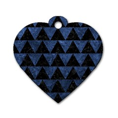 Triangle2 Black Marble & Blue Stone Dog Tag Heart (one Side) by trendistuff