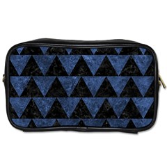 Triangle2 Black Marble & Blue Stone Toiletries Bag (one Side) by trendistuff