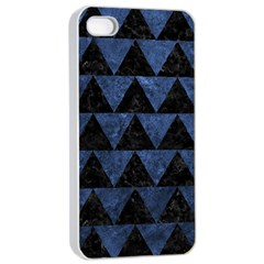 Triangle2 Black Marble & Blue Stone Apple Iphone 4/4s Seamless Case (white) by trendistuff