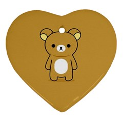 Bear Minimalist Animals Brown White Smile Face Ornament (heart)