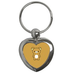 Bear Minimalist Animals Brown White Smile Face Key Chains (heart)
