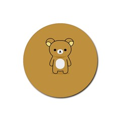 Bear Minimalist Animals Brown White Smile Face Rubber Round Coaster (4 Pack)  by Alisyart