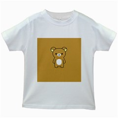 Bear Minimalist Animals Brown White Smile Face Kids White T Shirts by Alisyart