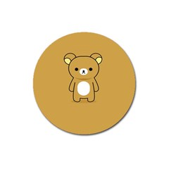 Bear Minimalist Animals Brown White Smile Face Magnet 3  (round) by Alisyart
