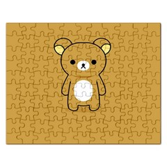 Bear Minimalist Animals Brown White Smile Face Rectangular Jigsaw Puzzl by Alisyart