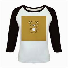 Bear Minimalist Animals Brown White Smile Face Kids Baseball Jerseys by Alisyart