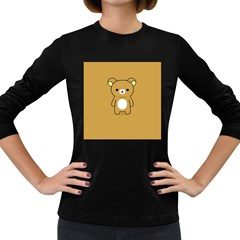 Bear Minimalist Animals Brown White Smile Face Women s Long Sleeve Dark T Shirts by Alisyart