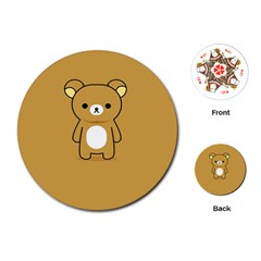 Bear Minimalist Animals Brown White Smile Face Playing Cards (round)  by Alisyart