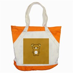 Bear Minimalist Animals Brown White Smile Face Accent Tote Bag by Alisyart