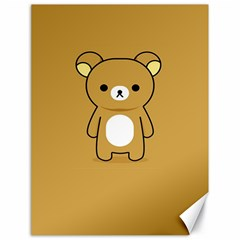 Bear Minimalist Animals Brown White Smile Face Canvas 18  X 24   by Alisyart