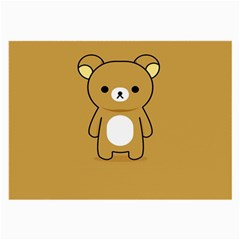 Bear Minimalist Animals Brown White Smile Face Large Glasses Cloth (2 Side) by Alisyart