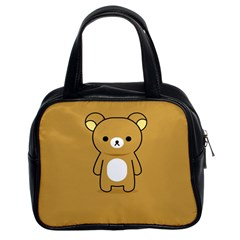 Bear Minimalist Animals Brown White Smile Face Classic Handbags (2 Sides) by Alisyart