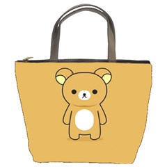 Bear Minimalist Animals Brown White Smile Face Bucket Bags by Alisyart