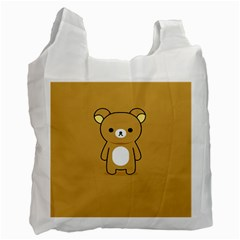 Bear Minimalist Animals Brown White Smile Face Recycle Bag (one Side) by Alisyart