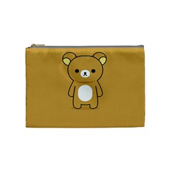Bear Minimalist Animals Brown White Smile Face Cosmetic Bag (medium)  by Alisyart