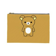 Bear Minimalist Animals Brown White Smile Face Cosmetic Bag (large)  by Alisyart