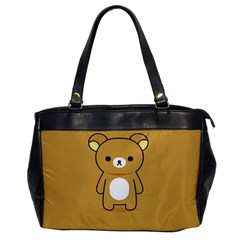 Bear Minimalist Animals Brown White Smile Face Office Handbags by Alisyart