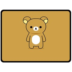 Bear Minimalist Animals Brown White Smile Face Fleece Blanket (large)