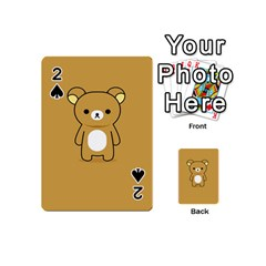 Bear Minimalist Animals Brown White Smile Face Playing Cards 54 (mini)  by Alisyart