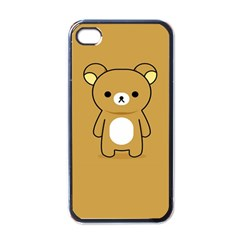 Bear Minimalist Animals Brown White Smile Face Apple Iphone 4 Case (black) by Alisyart