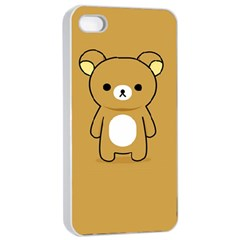 Bear Minimalist Animals Brown White Smile Face Apple Iphone 4/4s Seamless Case (white) by Alisyart
