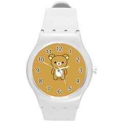 Bear Minimalist Animals Brown White Smile Face Round Plastic Sport Watch (m) by Alisyart