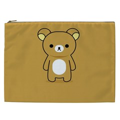 Bear Minimalist Animals Brown White Smile Face Cosmetic Bag (xxl)
