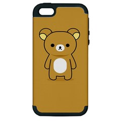 Bear Minimalist Animals Brown White Smile Face Apple Iphone 5 Hardshell Case (pc+silicone) by Alisyart