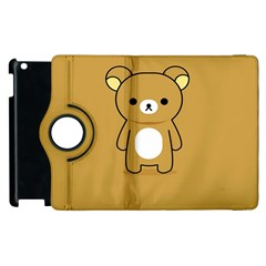 Bear Minimalist Animals Brown White Smile Face Apple Ipad 3/4 Flip 360 Case by Alisyart