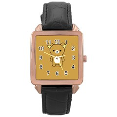 Bear Minimalist Animals Brown White Smile Face Rose Gold Leather Watch  by Alisyart