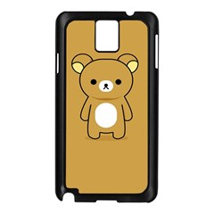 Bear Minimalist Animals Brown White Smile Face Samsung Galaxy Note 3 N9005 Case (black)