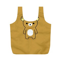 Bear Minimalist Animals Brown White Smile Face Full Print Recycle Bags (m)  by Alisyart