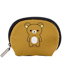 Bear Minimalist Animals Brown White Smile Face Accessory Pouches (small)  by Alisyart