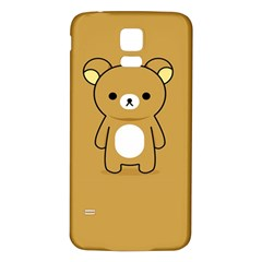 Bear Minimalist Animals Brown White Smile Face Samsung Galaxy S5 Back Case (white)