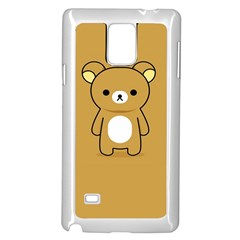 Bear Minimalist Animals Brown White Smile Face Samsung Galaxy Note 4 Case (white)