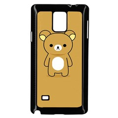 Bear Minimalist Animals Brown White Smile Face Samsung Galaxy Note 4 Case (black)