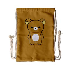 Bear Minimalist Animals Brown White Smile Face Drawstring Bag (small) by Alisyart