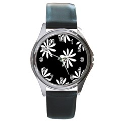 Black White Giant Flower Floral Round Metal Watch by Alisyart