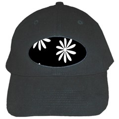 Black White Giant Flower Floral Black Cap