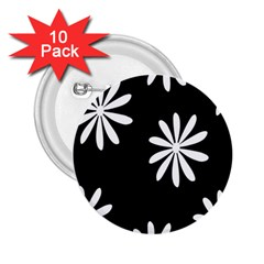 Black White Giant Flower Floral 2 25  Buttons (10 Pack)  by Alisyart