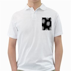 Black White Giant Flower Floral Golf Shirts by Alisyart