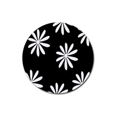 Black White Giant Flower Floral Rubber Round Coaster (4 Pack)  by Alisyart