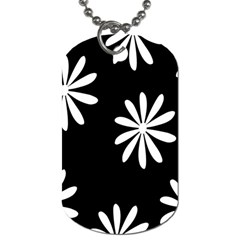 Black White Giant Flower Floral Dog Tag (one Side) by Alisyart