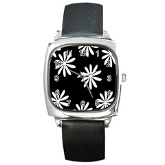 Black White Giant Flower Floral Square Metal Watch by Alisyart