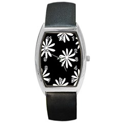Black White Giant Flower Floral Barrel Style Metal Watch by Alisyart